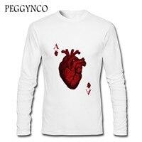2017 Newest Creative Design Heart Poker T Shirt Autumn Men Boy Fashion Novelty Long Sleeve Tee