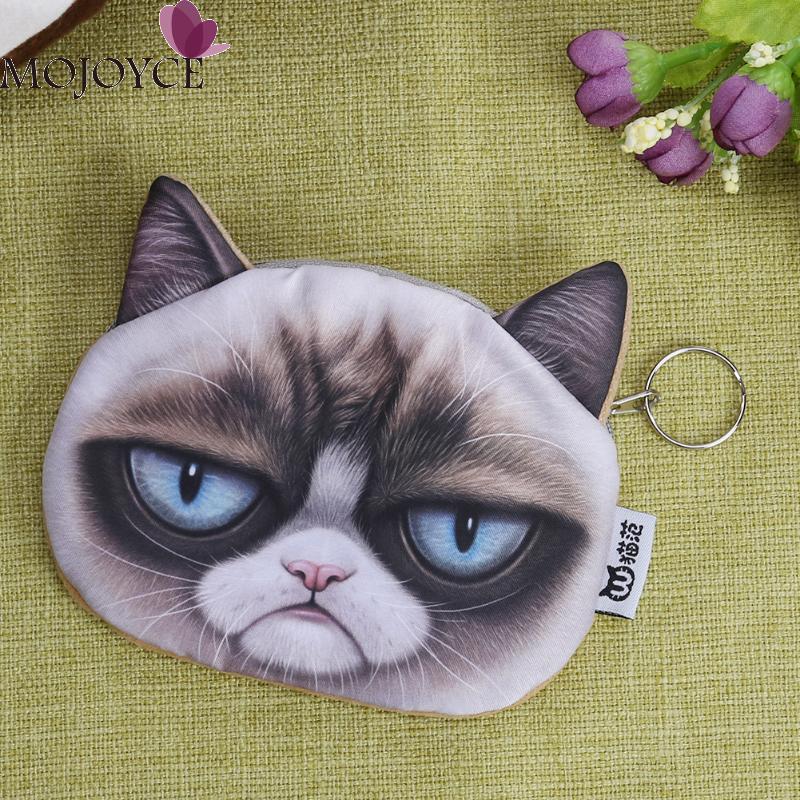 3D Cute Cat Face Coin Purse Zipper Design Coin Purse Wallet Simulation Animal Printing Cute Bag Small Cartoon Coins Wallets 2017 new fashion cute cat face zipper case