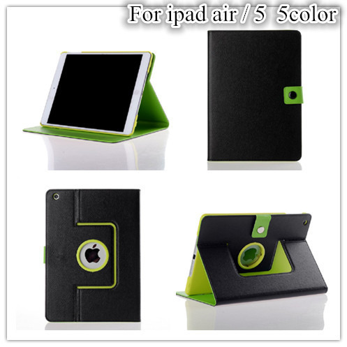 Air 1 Colorfull Lichee Pattern Rotation Leather Case For Apple iPad Air Magnet Case +protectors