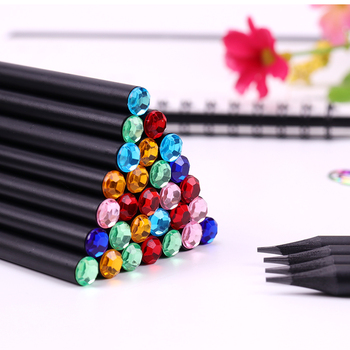 12 PCS/Lot Kawaii Black Pencil Eco-friendly Plastic HB Diamond Color Pencils Standard Pencil For Student School Office Supplies