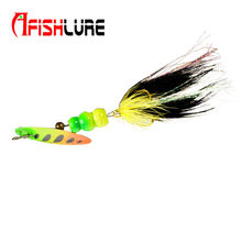 Afishlure 6g spinnerbait bass baits metal spoon lure spinner lure with treble hook feather tail fishing lure 5pcs/lot