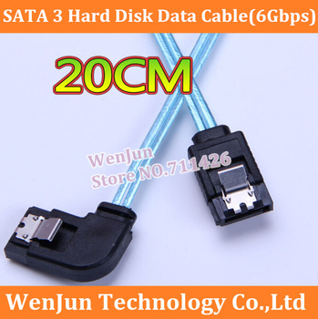 20PCS  High Quality SAS dual channel SATA3 data cable (6Gbps) Straight head and lateral elbow with shrapnel 20cm