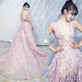 JUSERE 2017 New Light Pink Profundo decote V Trem Grande Lace bordados com flores em 3D Bead Celebridade Vestidos de Noite do baile de Finalistas vestido