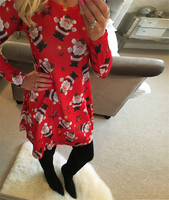 Women Christmas Dress 2016 Winter Round Neck Long Sleeve Knee Length Dress Snowman Chocolate Printed Casual