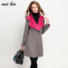 2017 Elegant Women Winter 100%Wool Coats Grey Turn Down Collar Long Woolen and Cashmere Coat Female Jacket Long Outwear