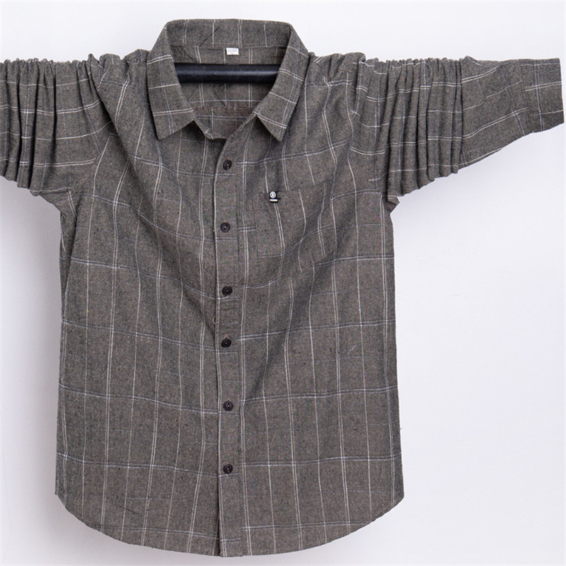 2018 GxxH Men's Brand Shirt Large Size Loose Lapel Men's Plaid Shirt Men's Black Long Sleeve Shirt More Sizes 5XL 6XL 7XL-in Casual Shirts from Men's Clothing    3