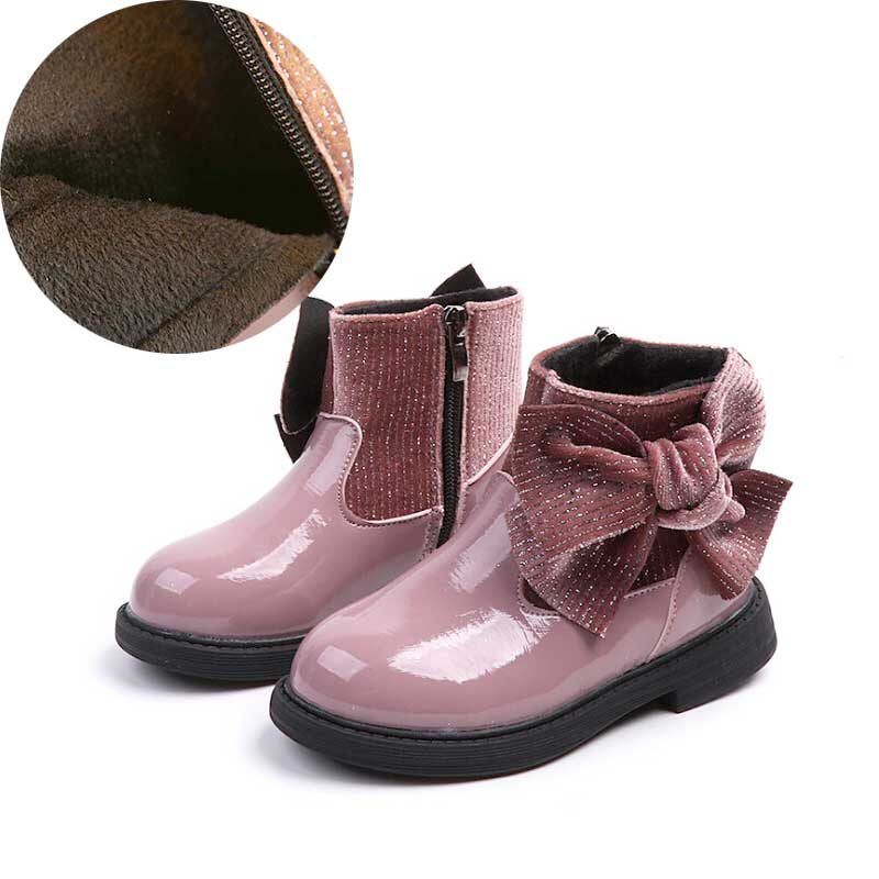 Girl Boot Kids Winter Boots Fashion Patchwork Bow Boys Warm Shoes Ankle Boot Footwear 2018 #17 цена