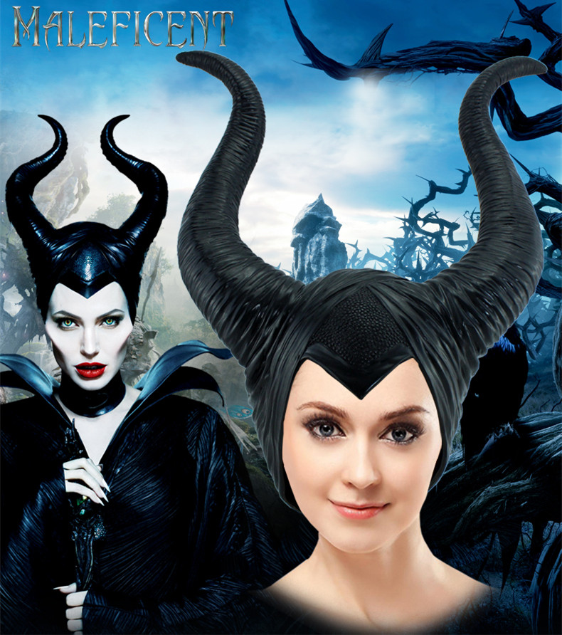 Maleficent Horns Adult Women Halloween Party Costume Jolie Cosplay Headpiece Hat Helmet Trendy Genuine Latex Black Red