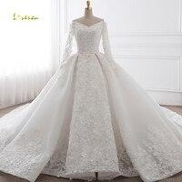 Loverxu Vestido De Noiva сексуальное с v образным вырезом с длинным рукавом бальное платье свадебное платье 2019 аппликации Королевский поезд платье для