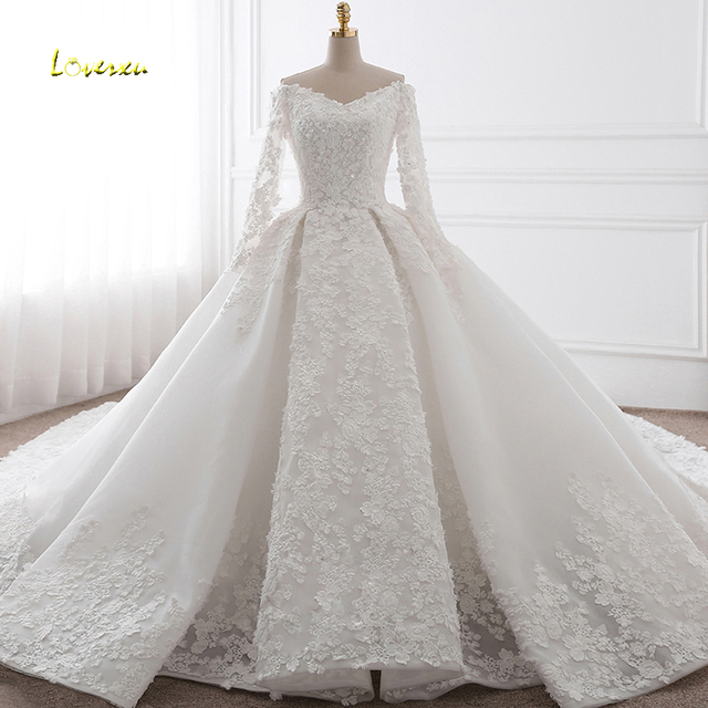 Loverxu Vestido De Noiva Sexy V-neck Long Sleeve Ball Gown Wedding Dress  2018 Appliques Royal Train Princess Bride Gown Hot Sale 355268623768