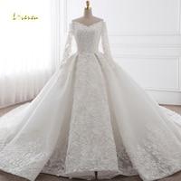 Loverxu Vestido De Noiva Sexy v образным вырезом с длинным рукавом бальное платье свадебное платье 2018 аппликации царский поезд принцесса платье невесты
