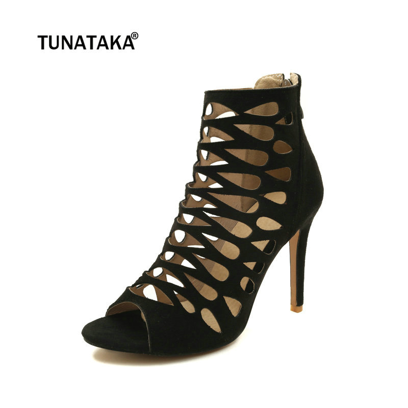 Women Summer Ankle Boots Fashion Peep Toe Thin High Heels Zipper Party Shoes Black Brown Purple