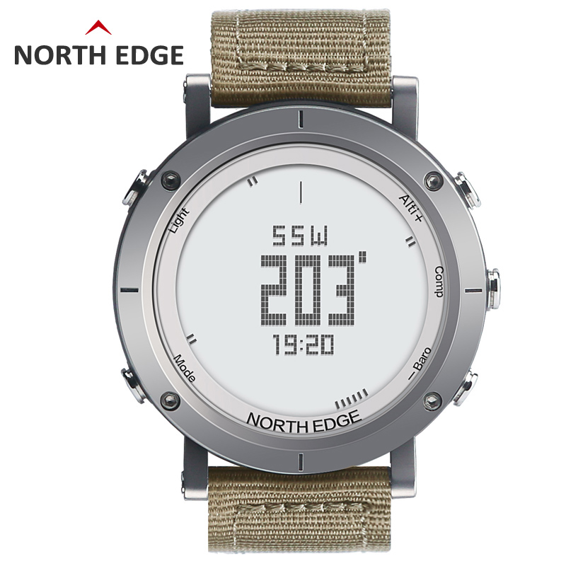 NORTH EDGE Men Sports Watches Altimeter Thermometer Barometer Compass Heart Rate Monitor Pedometer Digital Running Hiking