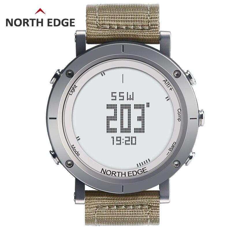 NORTH EDGE hommes montres de sport altimètre thermomètre baromètre boussole moniteur de fréquence cardiaque podomètre numérique course à pied montre de randonnée