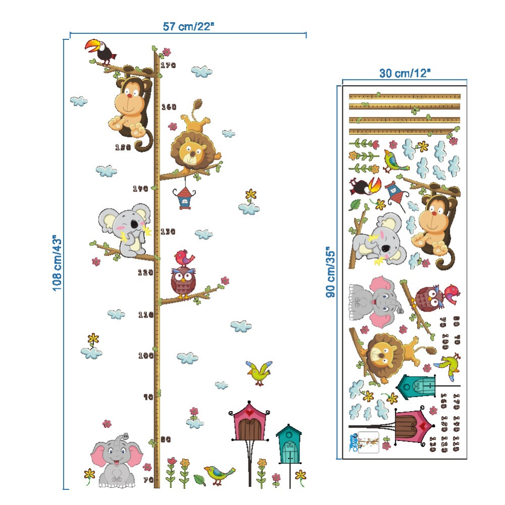 Jungle Animal Monkey Owl Growth Chart Stadiometer Stickers Height