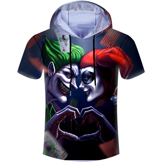 6ce499e87774 Casual Hoodies T-shirt Men T Shirt Love Joker And Harley Quinn 3D Print  Harajuku Hip Hop Hooded Tshirt Unisex Brand Clothing 6XL
