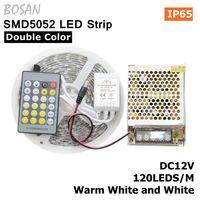 5メートル60 leds/m 5052 ledストリップ24keyリモコンdc12v 5aホワイトとウォームホワイト色温度柔軟な防水ストリップライ
