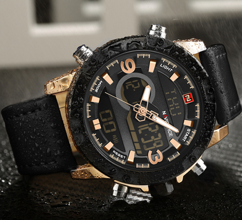 NAVIFORCE Men's Luxury Dual Time Display Waterproof Calendar Chronograph Leather Quartz Watches 4