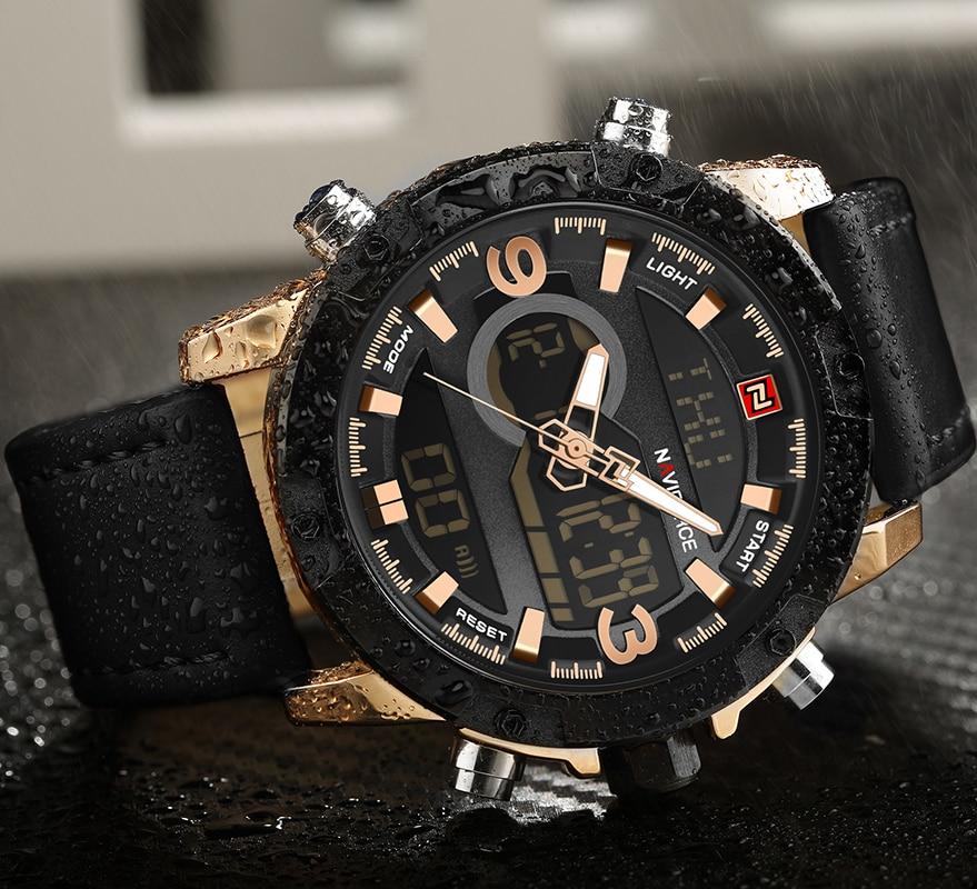 NAVIFORCE Luxury Brand Men Sport Watches Men's Leather Digital Army Military Watch Man Quartz waterproof Clock Relogio Masculino