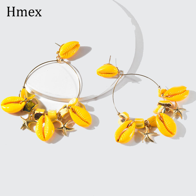 Trendy Boho Yellow Shell Dangle Drop Earrings For Women Fashion Beach Big Circle earings Statement Brincos Jewelry