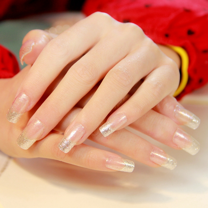 HOT PROMO) Shimmer Pure Silver Glitter French Nails Clear