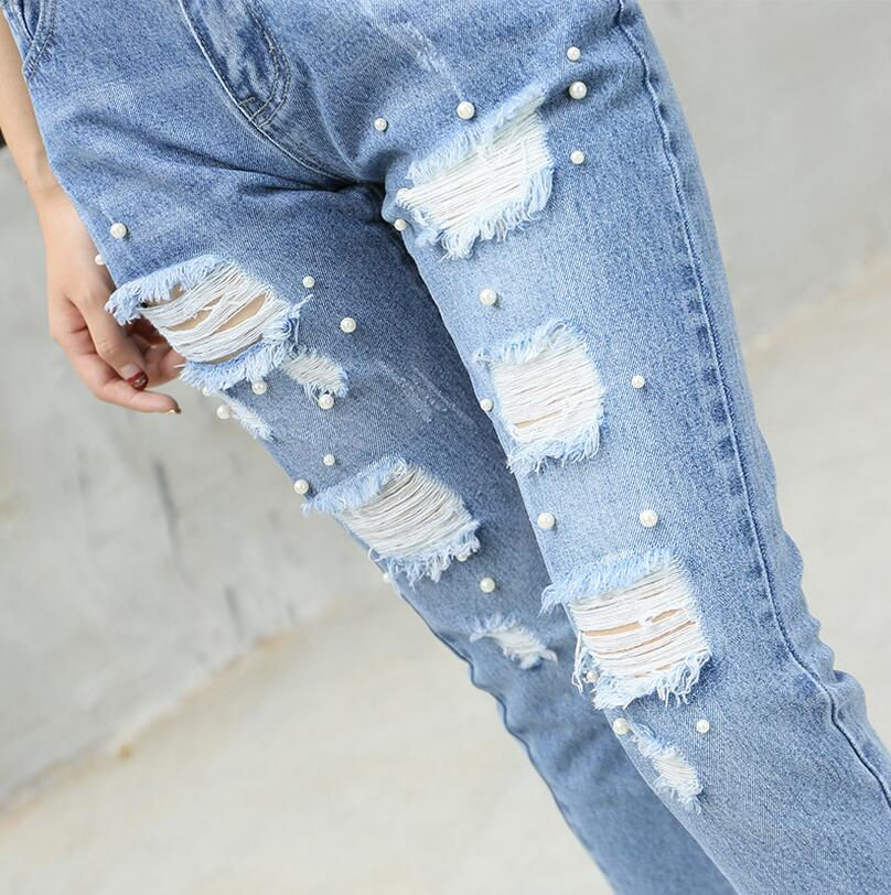 New Women Jeans Sexy Ripped Jeans for Women fashion Beading Holes pencil pants Plus Size 4XL