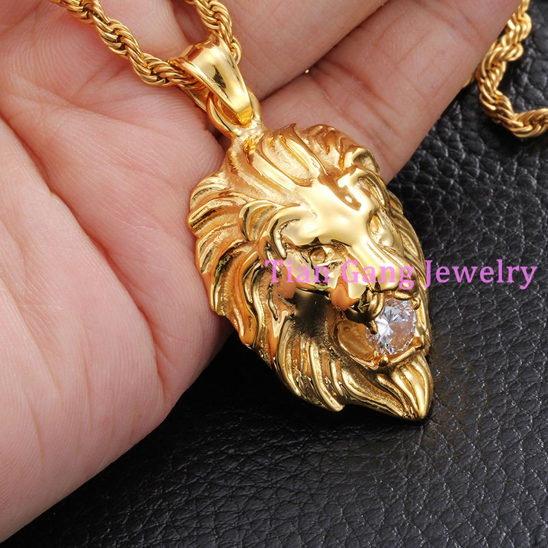 Cool stainless steel fashion new mens boys yellow silver gold cool stainless steel fashion new mens boys yellow silver gold lion pendant necklace white stone collares pentagrama free chain in pendants from jewelry aloadofball Choice Image