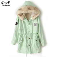 Dotfashion Fur Hooded Zipper Embellished Fleece Inside Military Coat Green Woman Long Sleeve Top 2017 Embroidery Short Coat