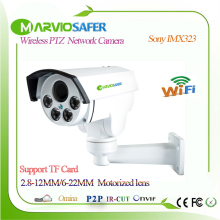 Marviosafer 1080P Full HD CCTV wi fi Network PTZ IP Camera Cam Wireless Camara IPCam, TF Slot 4X Motorized 6-22mm Zoom Lens