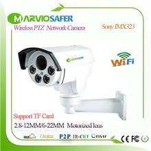 Marviosafer 1080P Full HD CCTV wi-fi сети IP PTZ Камера Cam Беспроводной Камара IPCam, слот для карт 4X моторизованный 6-22 мм зум-объектив