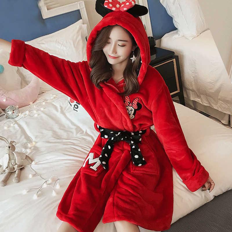 fashion Winter new Women Robes Coral Velvet Bathrobe Pajamas Bath Flannel  Warm Robe Sleepwear Cartoon Lovely a3877b892