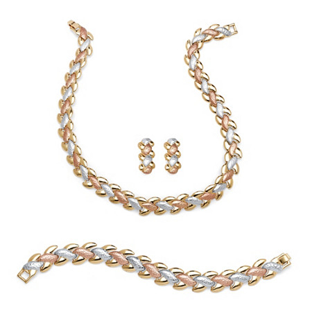 PalmBeach Jewelry 53087 3 Piece Jewelry Set Includes Link Necklace Bracelet and Earrings in Tri-Tone