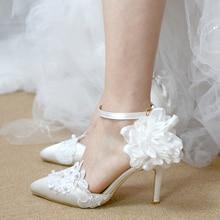 Wedding shoes bridesmaid shoes white thin heel hollow sandal wristband buckle lace pearl flower Korean princess female