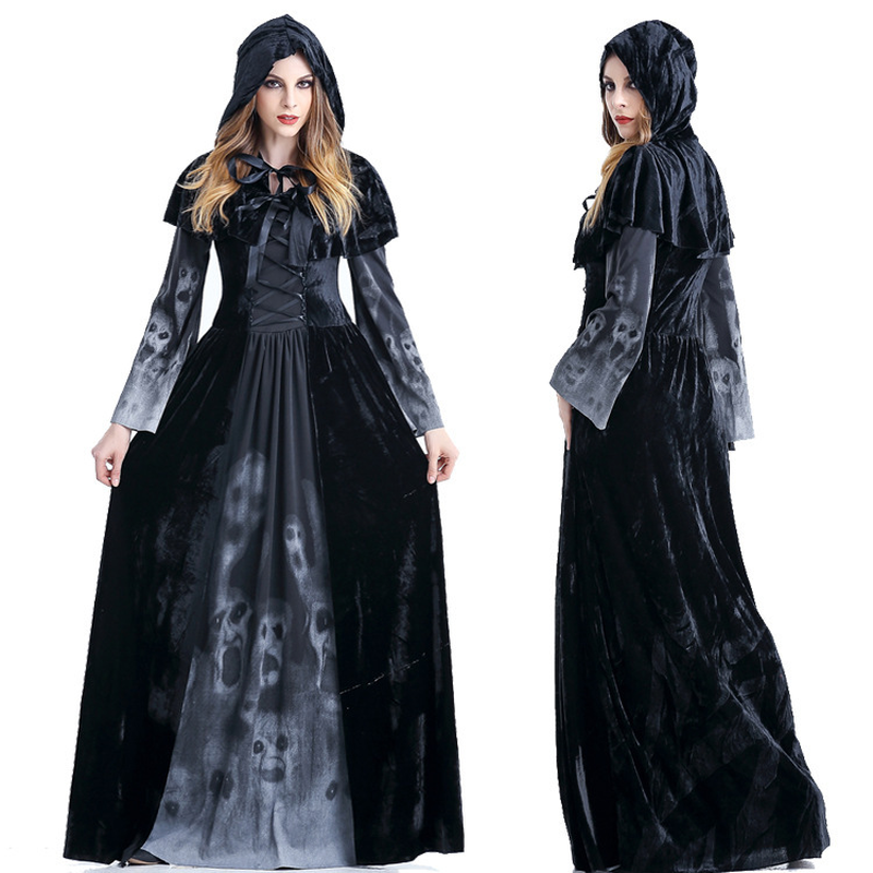 Gothic Vestito Da Strega Fantasma Del Cranio di Stampa Diavolo Nero di Lunghezza Del Pavimento Del Partito Del Vestito Operato Per Le Donne Autunno Inverno Vestito Da Festa di Halloween