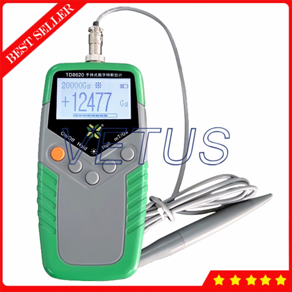 <font><b>TD8620</b></font> Permanent Magnet Teslameter Handheld Tesla Meter with Class 2 Accuracy Surface Magnetic Field Tester Digital Gauss Meter image