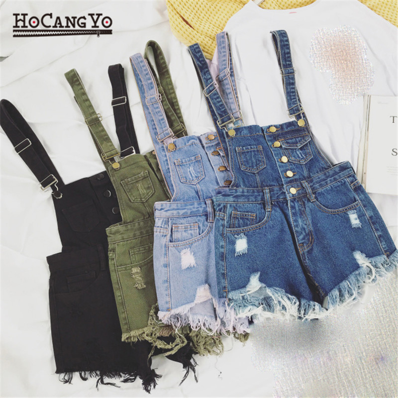 HCYO Rompers Womens Jumpsuit Shorts Denim Overalls for Womens Playsuits Rompers Plus Size Hole Vintage Straps Women Tracksuits