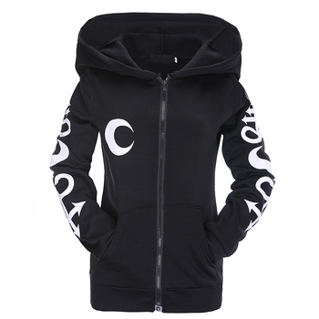 Gothic Punk Hoodies Witch Moon Print Loose Hood Long Sleeve Casual Thin Sweatshirt Black