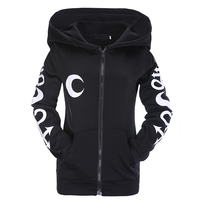 Gothic Punk Women Hoodies Witch Moon Print Loose Hood Long Sleeve Casual Thin Sweatshirt Black