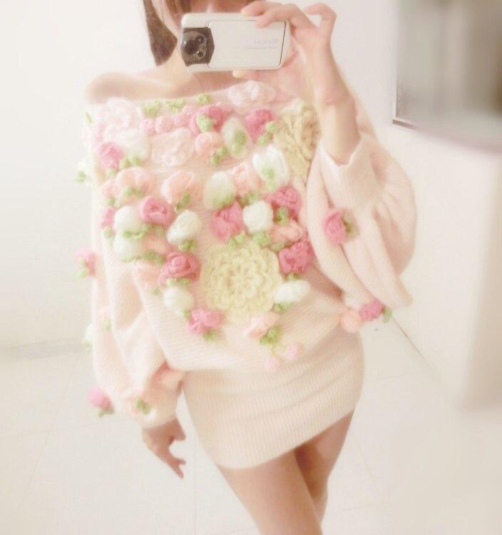 Princesse sweet lolita robe Rose de fourrure de lapin crochet fraise découpe chandail fente décolleté bustier hanche mince tricoté d'une seule pièce