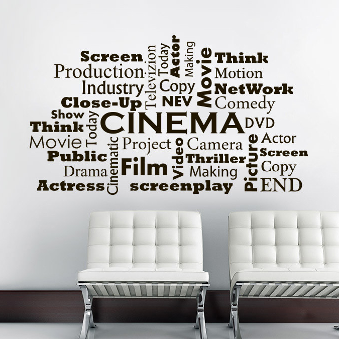 Movie Room Interior Decor Cinema Film Words Wall Decals Ciname Making Studio Window Poster Vinyl Cinema Wall Art Sticker Az546 Wall Stickers Aliexpress