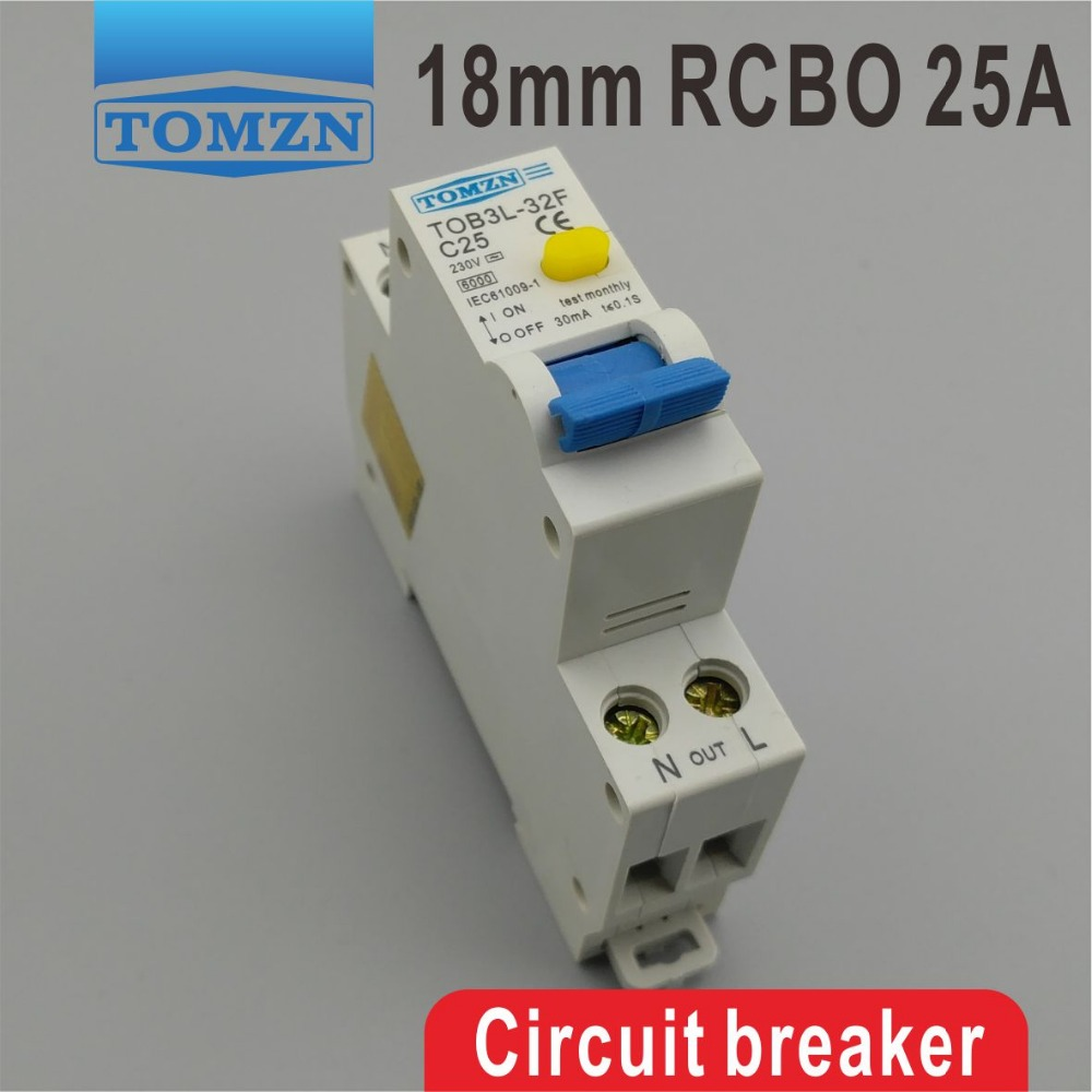 TOB3L-32F 18MM RCBO 25A 1P+N 6KA Residual current Circuit breaker with over current and Leakage protectionTOB3L-32F 18MM RCBO 25A 1P+N 6KA Residual current Circuit breaker with over current and Leakage protection