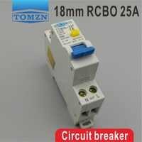 TOB3L-32F 18MM RCBO 25A 1P + N 6KA Disyuntor de corriente Residual con protección contra sobrecorriente y fugas