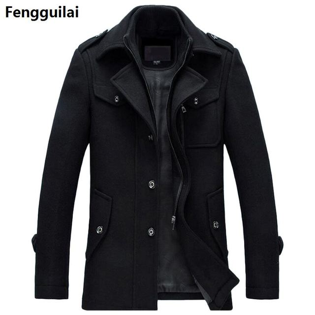 Winter Wool Coat Slim Fit...