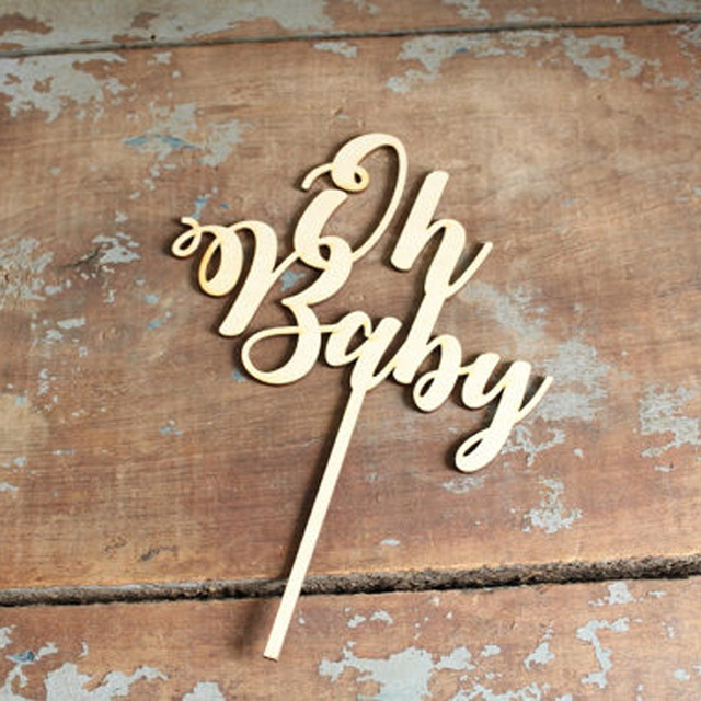 Oh Baby Cake Topper for Baby Shower Cake Decoration Mirror wooden Glod/Silver Color Acrylic Cake Topper Supplies
