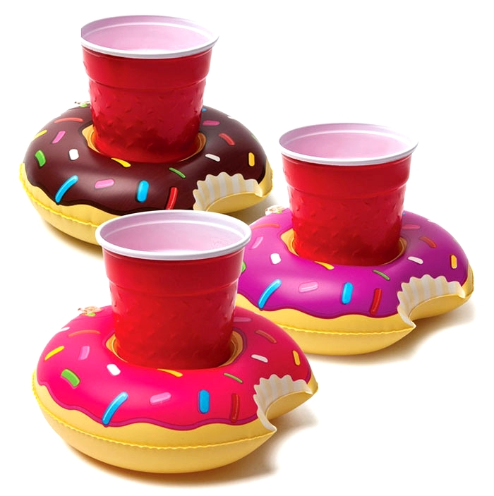 Donut Inflatable Drink Cup Holder Bottle Holder Floating Lovely Pool Bath Toy For Beach Party LX2056