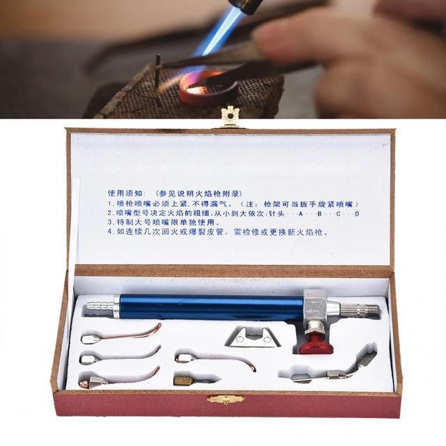 מקצועי חמצן לפיד תכשיטי אצטילן גז לפיד ריתוך הלחמה אקדח עם 5 טיפים עבור בלוני חמצן תכשיטי ביצוע כלי