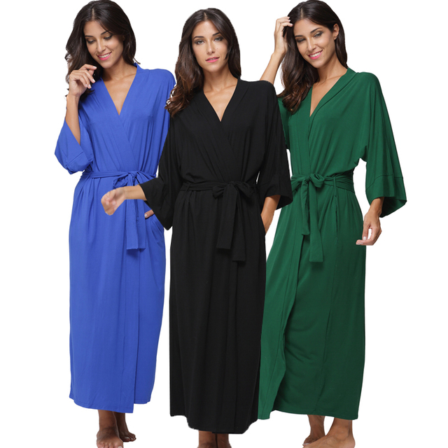 6c8a55a339 Women s Cotton Long Kimono Robe Sexy Party Wedding Bride Bridesmaids Robes  Ladies Modal Black Loungewear Nightgown Bathrobe