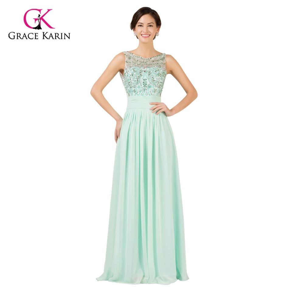 Prinzessin Gnade Karin Perlen Chiffon Mint Green Lange abendkleider ...