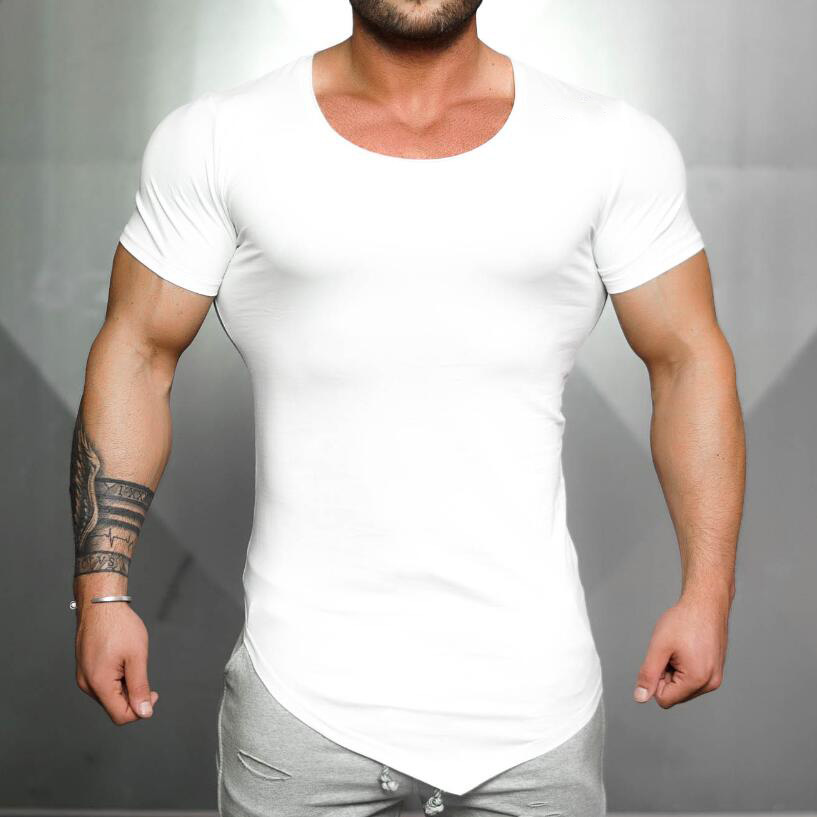 Brand Clothing Tight Short Sleeve T Shirt Mens Fitness T-shirt Solid Color Gyms Shirt Men Slim Fit Summer Top Blank Tshirt