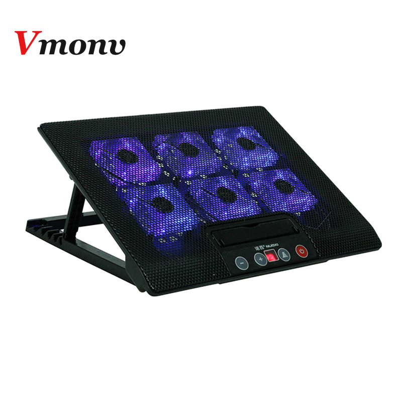 Vmonv Laptop Cooling Pad for 14 15.6 <font><b>17</b></font> Inch Laptop <font><b>Notebook</b></font> 2 USB Ports Big Six Cooling Fan With Light Laptop Cooler <font><b>Stand</b></font> image